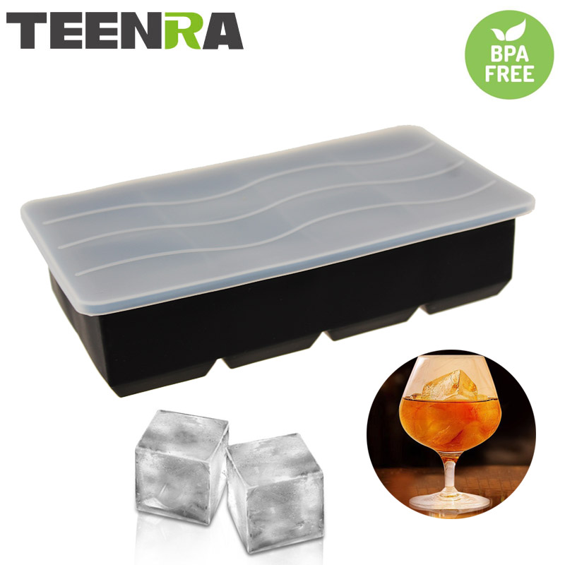 TEENTA Black Silicone Ice Mould Square Ice Cube Bricka Lock 8 Hål Ice Cubes Maker Silicone Cube Mould Lid Party Bar