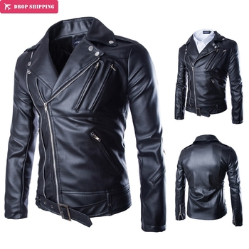 New arrival brand motorcycle leather jackets men multi-zipper men's leather jacket comfortable breathable mens coat Y105