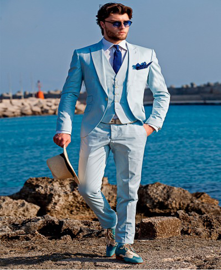 2017 Light Blue Multi Style tailor made slim fit suits for men ...