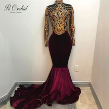 PEORCHID African Gold Mermaid Sequin Prom Dress Velvet Burgundy Trajes De Noche 2019 High Neck Formal Gown Long Party Dresses