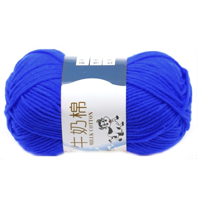 1 group Milk Cotton wool Yarn For Hand knitting Soft(Deep treasure blue Line rough about2.5mm