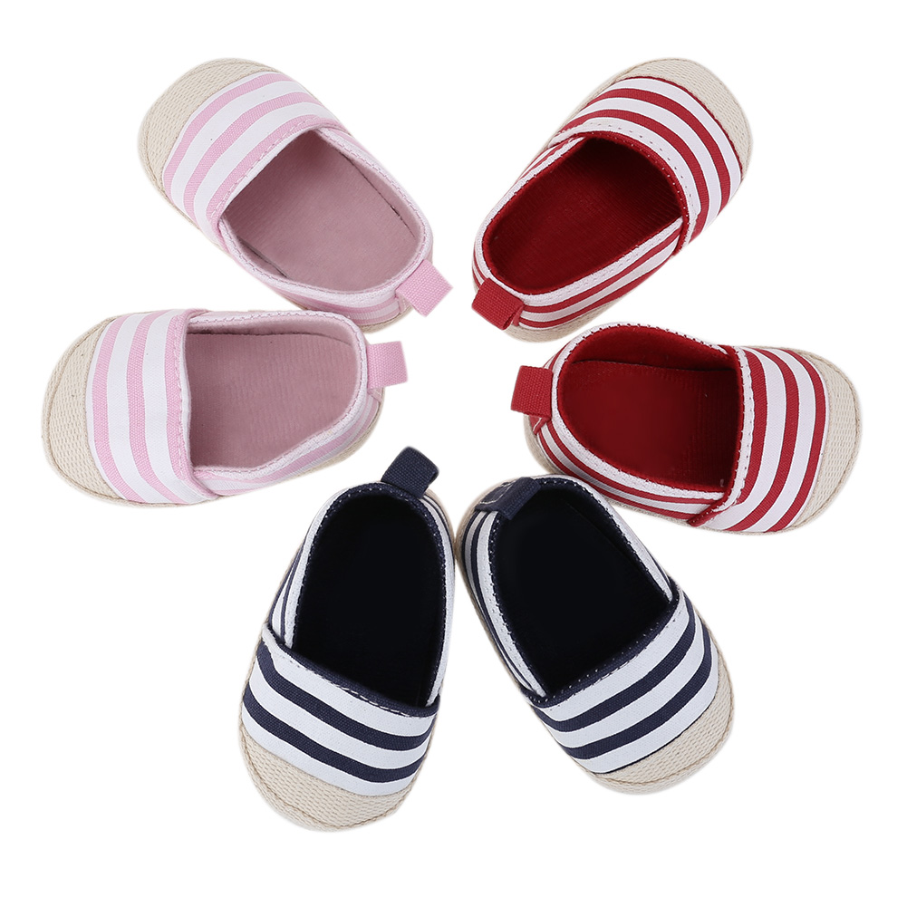 Newborn Baby Shoes Infant Girl Boy Classic Canvas Striped Shoes Toddlers First Walkers Soft Sole Anti-slip Toddler Baby Shoes