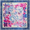 90 cm * 90 cm estilo popular de La Flor mono cabeza de animal print bufanda de las mujeres bufandas otoño 2017 niñas bufanda marca de lujo de seda A357