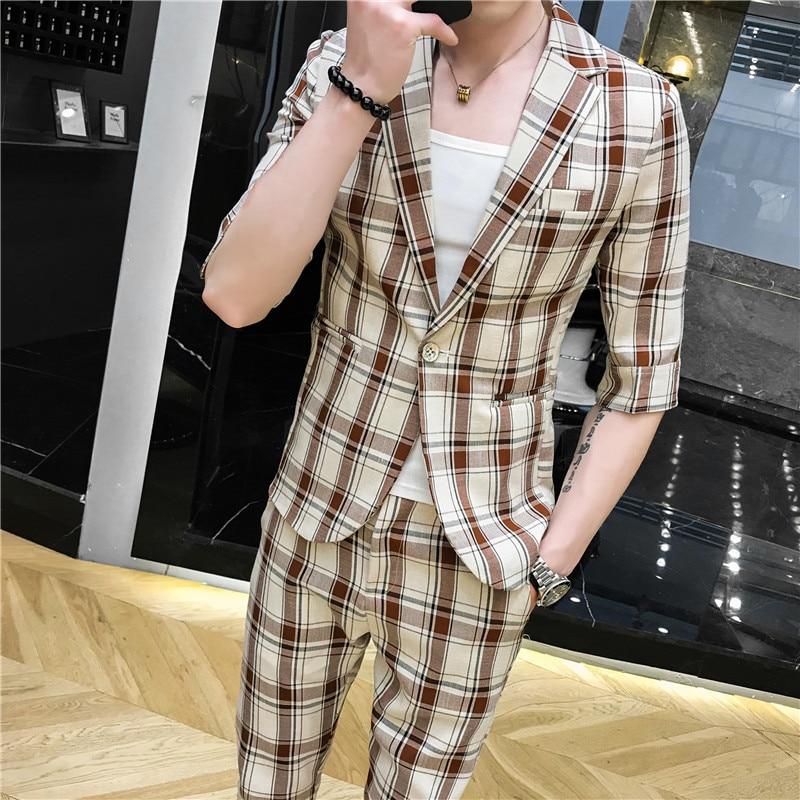 LOLDEAL Summer British Gentleman Plaid Sleeves Suit Suit Cotton And Linen Casual Men's Lapel Slim Single-breasted Suit Suit