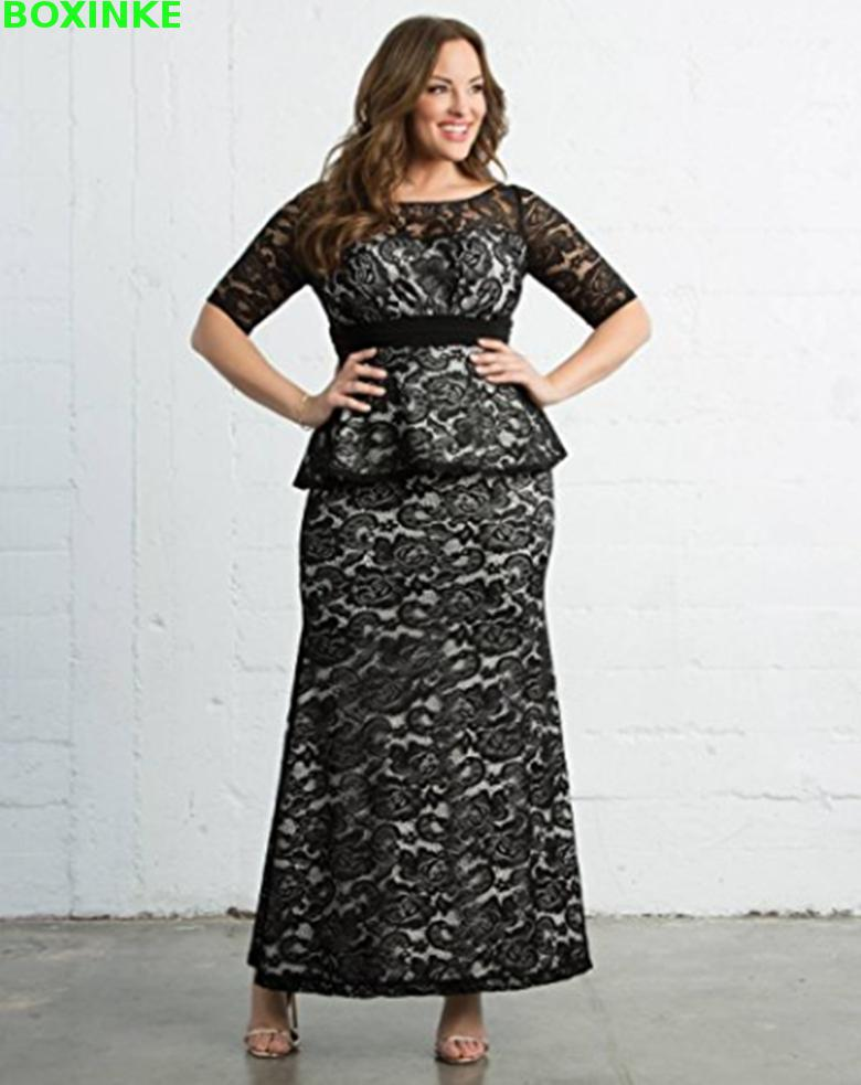 Vadim Lace Real Robe Fiesta O-neck Solid Time-limited Empire Floor-length Half Plus Size Dresses Women Long Formal Dress 7xl