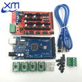 Free shipping Mega 2560 R3 + 1pcs RAMPS 1.4 Controller + 4pcs A4988 Stepper Driver Module + USB cable for 3D Printer kit Reprap