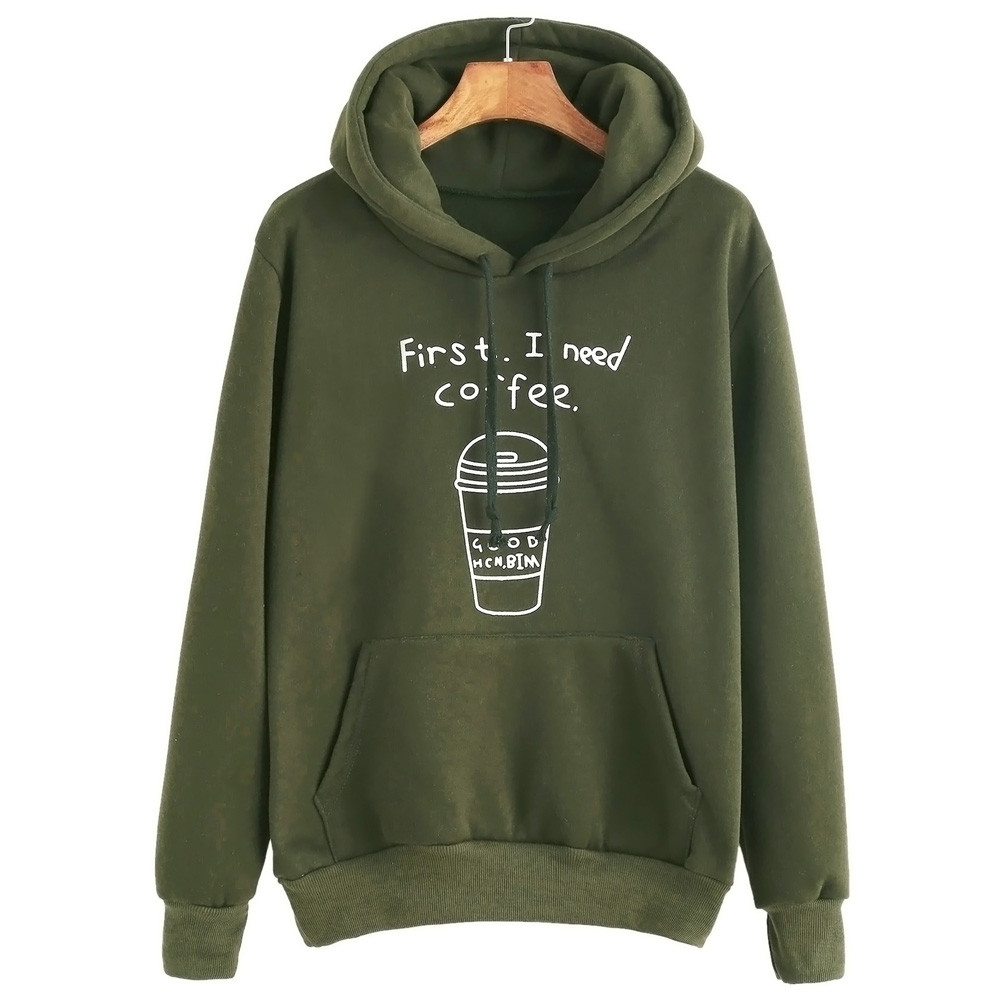First i need coffee letter long sleeved autumn spring warm for Letters for sweatshirts