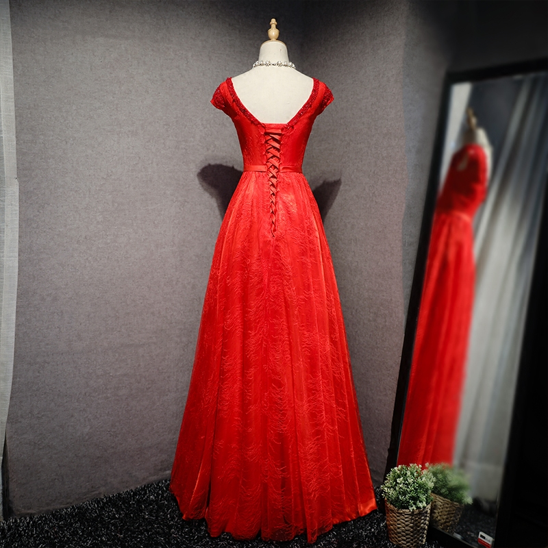 VENSANAC 2018 Pearls O Neck Lace Embroidery A Line Long Evening Dresses Party Beading Short Sleeve Bow Sash Prom Gowns in Evening Dresses from Weddings Events