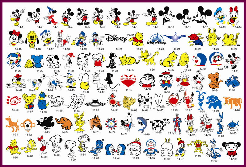 Golden Phoenix Book 14 Temporary Airbrush Tattoo Stencils Mickey Mouse and Donald Duck Series For Body Art Paint Makeup Cosmetic ultimate body paint body makeup airbrush kit with 6 airbrushes and 12 custom body colors and airbrush holder
