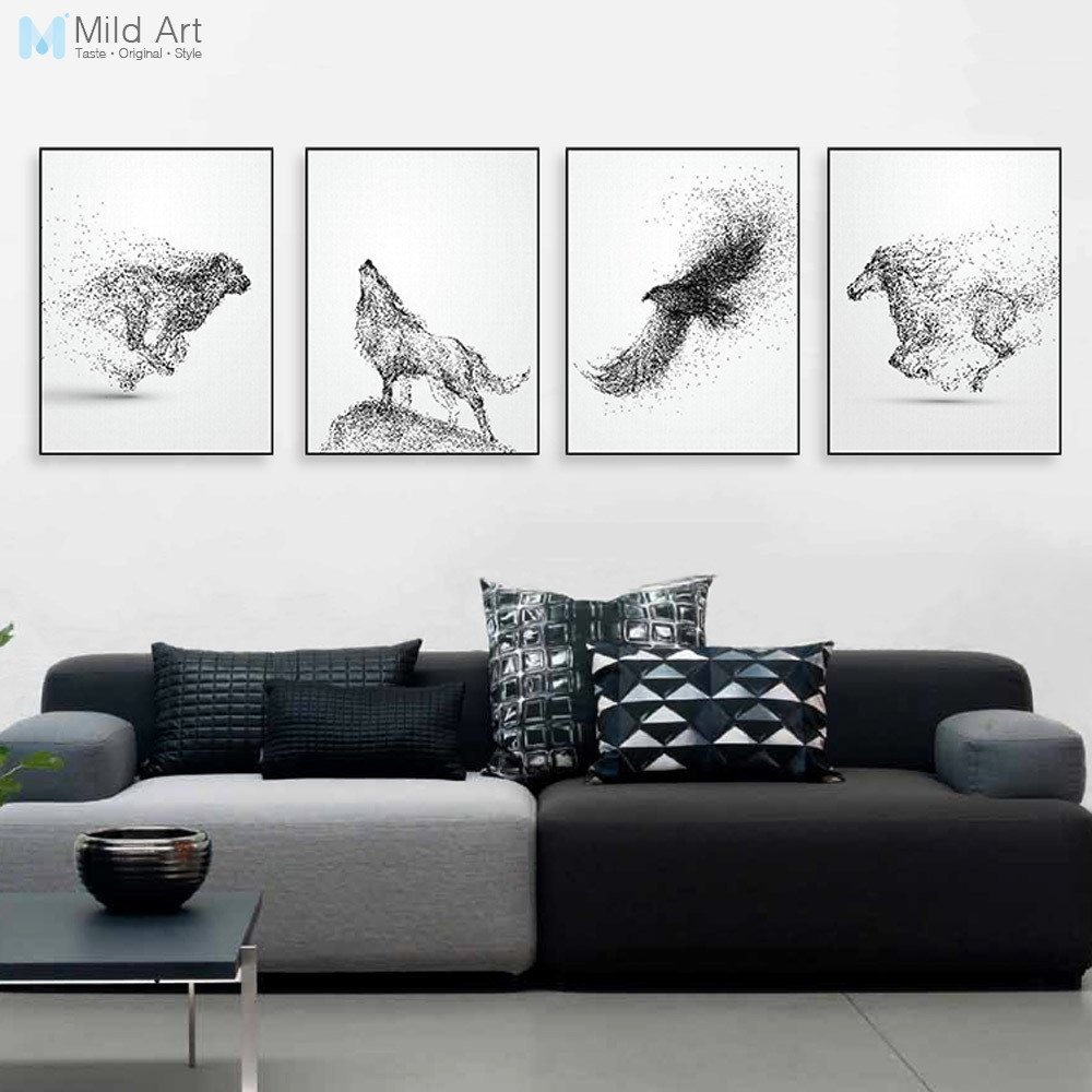 Black White Ink Wild Animal Horse Eagle Wolf Poster Nordic Living ...