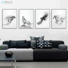 Black White Abstract Animals Horse Eagle Wolf Posters Nordic Living Room Wall Art Print Picture Home Deco Canvas Painting Custom(China)