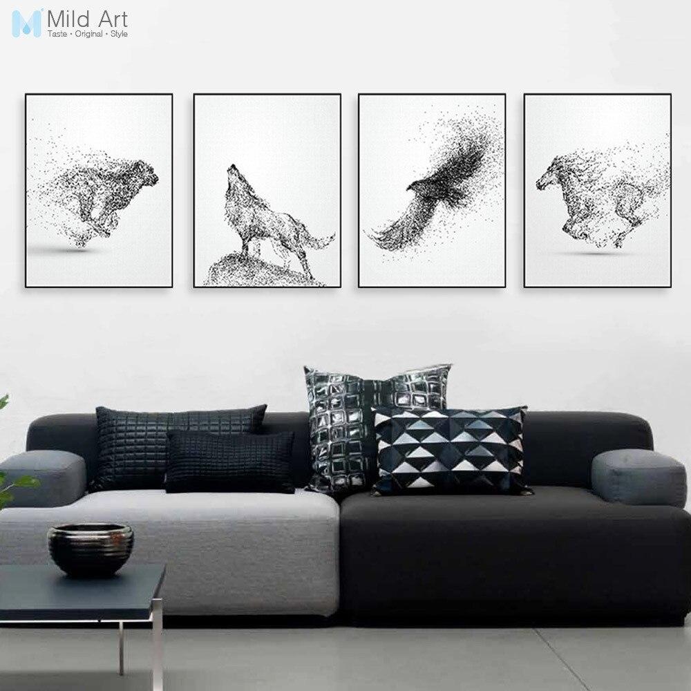 Deco Mur Salon Noir Et Blanc noir blanc abstrait animaux cheval aigle loup affiches