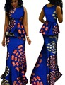 Más tamaño 6xl falda set dashiki africano para las mujeres cera africana bazin riche africano tradicional marca de ropa vestidos brw y603