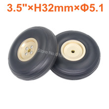 2pcs Lot 3 5 89mm PU Rubber Wheels Alloy Hub Thickness 32mm Axle hole 5 1mm