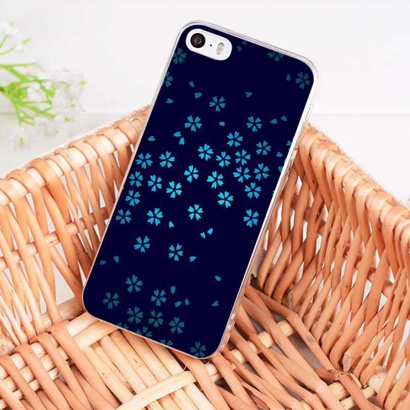 MaiYaCa białe kwiaty niebieskie liście miękkie etui z TPU na telefon pokrywa dla iPhone 8 7 6 6 S Plus X 10 5 5S SE 5C 4 4S Coque Shell