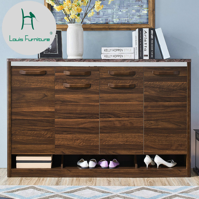 US $286.9  Louis Fashion Shoe Cabinet Living Room Partition New Chinese  Wooden Entrance Large Capacity Walnut Solid Wood-in Shoe Cabinets from ...