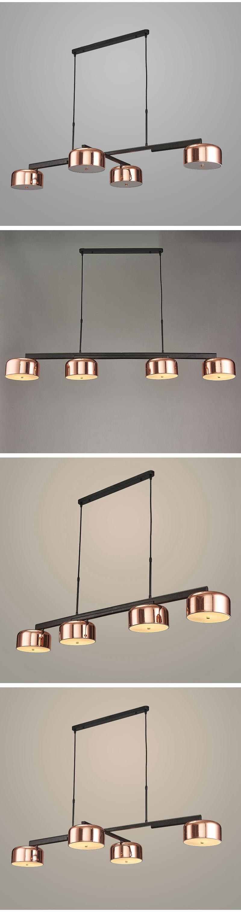 Modern simple 4 arm LED pendant light rose gold metal plating