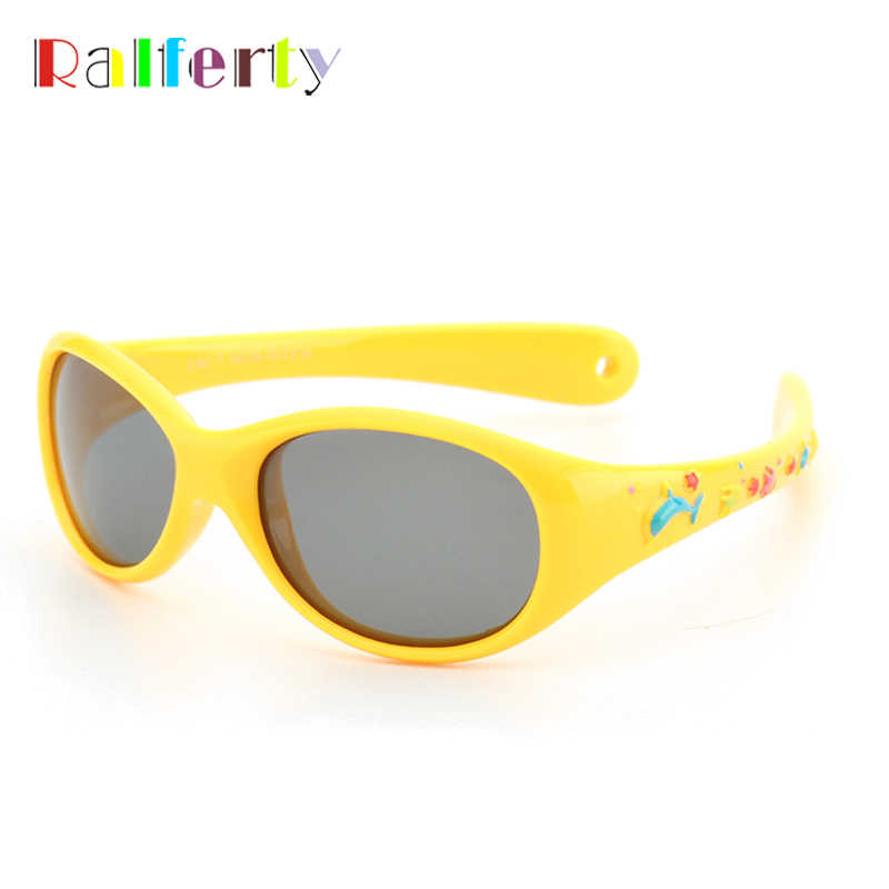 Ralferty 2018 Kids Sunglasses Boy Girl Brand Designer Polarized Sun Glasses Flexible Silicone UV400 Eyewear Oval Fish Ocluo K851