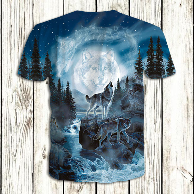 0d3af60fb1a7 2018 New Style Brand T Shirt 3D Men Blue Space Mountain Wolf Graphic T-Shirt  Men Boy Summer Clothing Casual T shirt