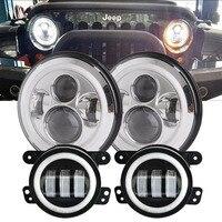 OTBS 7 дюймов круглые светодиодные фары Halo DRL Янтарный сигнал поворота + 4 дюйма Белый ореол Туман фара для Jeep Wrangler JK