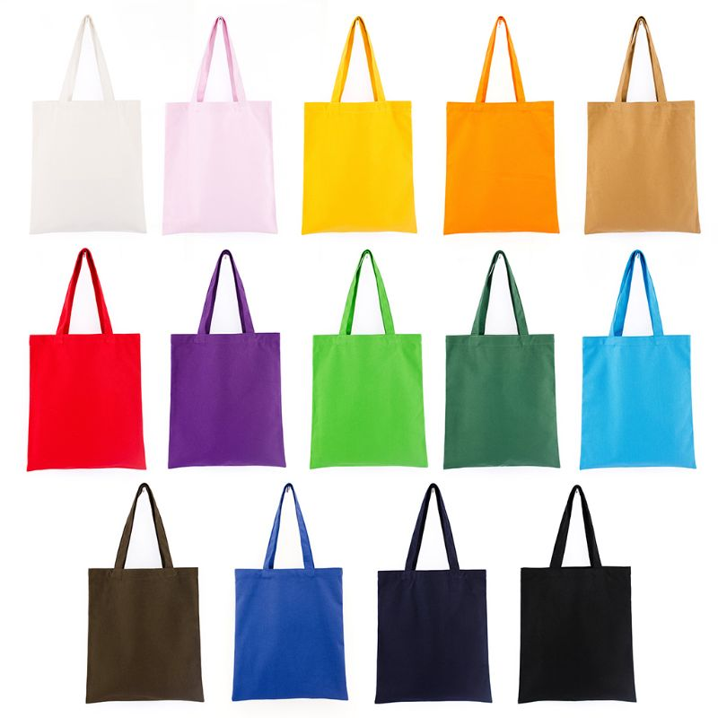 Women Durable Canvas Blank Grocery Plain Shopping Tote Bags Lady Multifunction Shoulder Bag Reusable Recycle Handbag 14 Colors