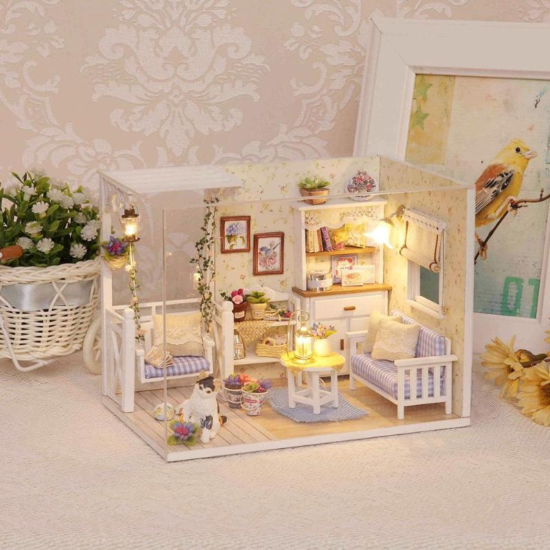 Doll House Furniture Diy Miniature Dust Cover 3D Wooden Miniaturas Dollhouse Toys for Children Birthday Gifts Kitten Diary H013 все цены