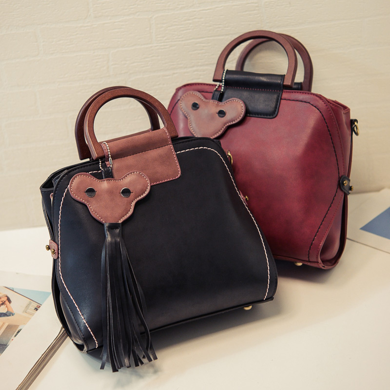 font b Women s b font handbag color block handbag fashion tassel pendant vintage font