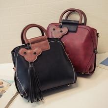 Frauen handtasche farbblock handtasche mode quaste anhänger vintage umhängetasche umhängetasche