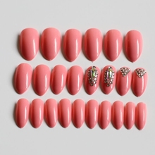 24 pcs/set fake nails shiny dazzling diamond crystal horse eye pointed pink acrylic