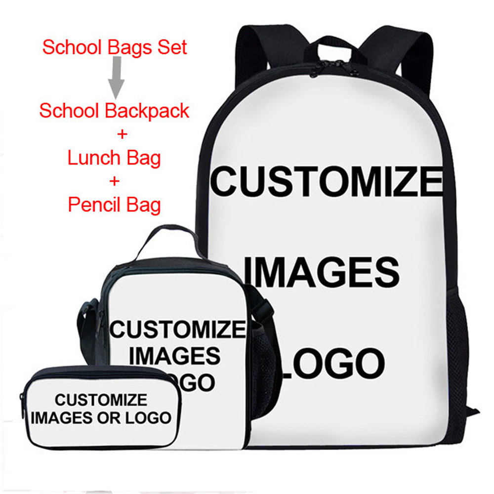 FORUDESIGNS Kids School Bags 3PCS/Set Customize Picture/Logo Prints Women's Backpack Daily Girls Boys Bookbags Dayback Mochila