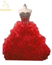Bealegantom New Fuchsia Ball Gown Quinceanera Dresses 2019 Rhinestones Beaded Sweet 16 Dress 15 Years Vestidos De Anos QA1186