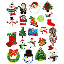 21 Styles Christmas hats and stockings Parches Embroidery Iron on Patches for Clothing DIY Clothes Snowman Stickers Appliques