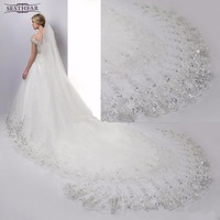 Wedding Accessoire 4 Meters Wedding Veil Long White Wedding Lace Sequins Bridal Veils Veils For Bride