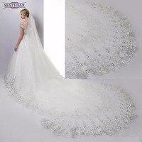 Düğün akseauar 4 metre düğün peçe uzun beyaz düğün dantel sequins gelin veils ile gelin veils tarak