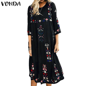 Image 3 - Bohemian Women Vintage Print Dress 2020 VONDA Sexy O Neck 3/4 Sleeve Maternity Dresses Plus Size Casual Loose Vestidos Femme