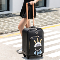Universal wheels trolley luggage travel bag luggage male16 20 24 pu leather commercial suitcase luggage