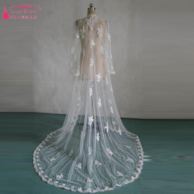 Accessoires de mariage Long mariage boléro dentelle à manches longues élégante veste de mariée ivoire mariage châle vestidos de noite Z525
