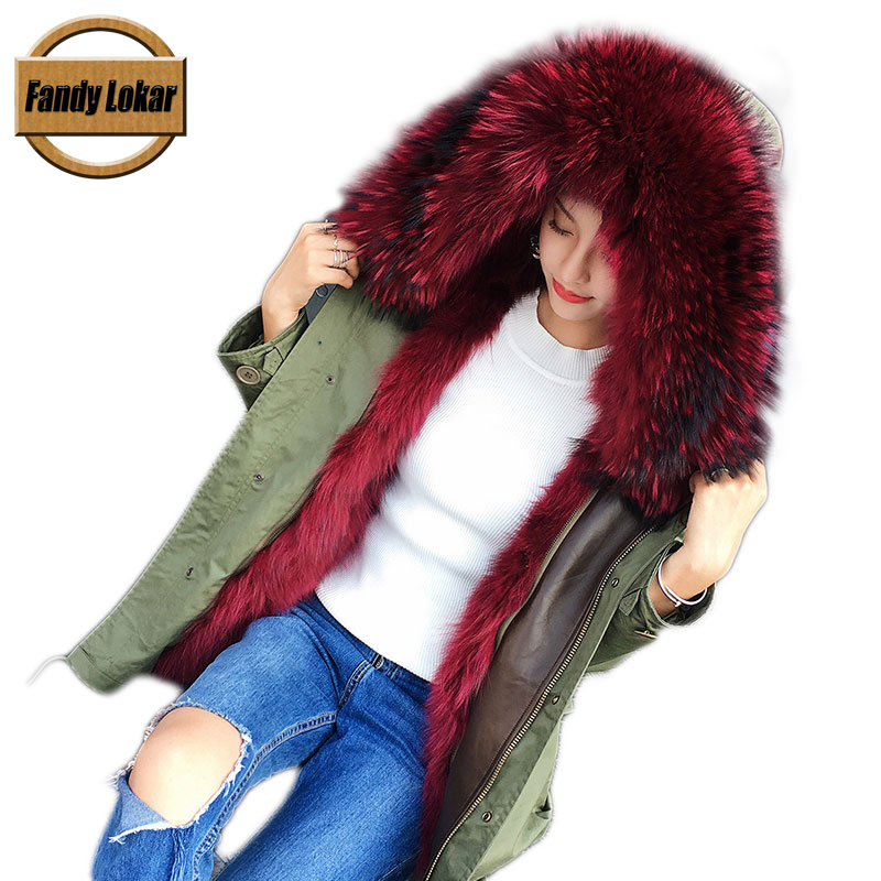 Long Warm Raccoon Fur Collar Coat Women Winter Real Raccoon Fur Liner Loose Warm Jacket With Hat Women Bomber Parka Female Ladi red shell warm raccoon fur collar coat women winter real fox fur liner hooded jacket women long parka female ladies fp891