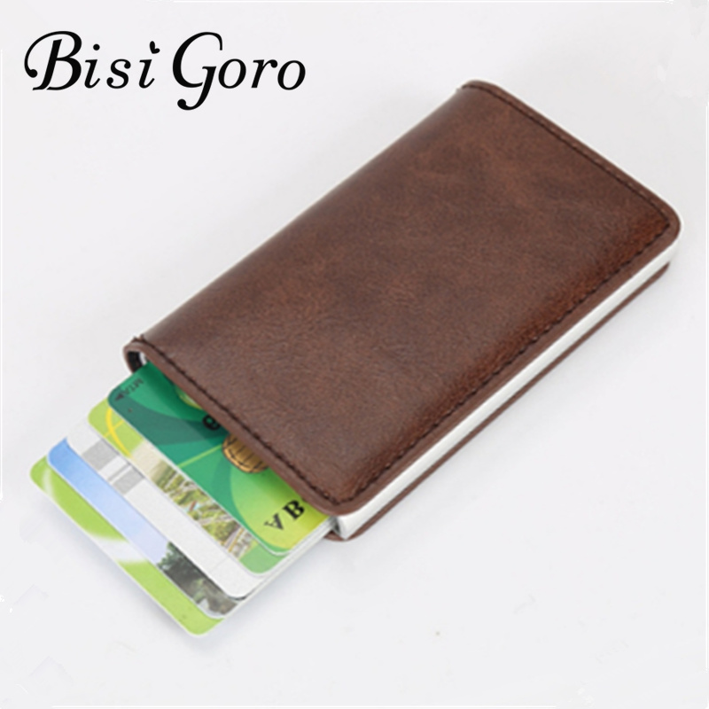 BISI GORO 2018 Men And Women Vintage Mini Pu Leather Business Aluminium Credit Card Holder Purse 5 Colors ...