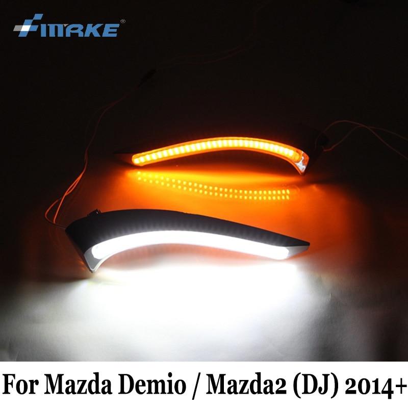 SMRKE DRL For Mazda Demio 2 Mazda2 DJ 2014~Present / Car LED Daytime Running Lights / Day Driving Lamp With Turn Signal Lamp авто и мото аксессуары tg cam mazda mazda2 2 demio 2007 top gear ccd rca