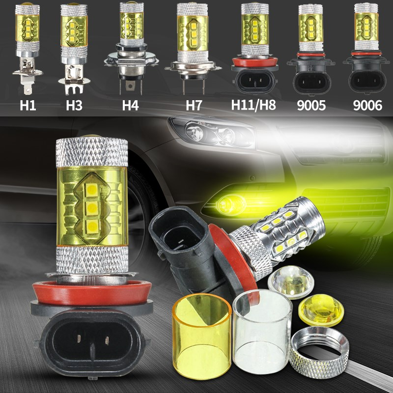 H1 H3 H4 H7 H11/H8 9006 9005 7W 16 SMD 2323 750LM Car Auto LED Fog Driving Light Bulb Lamp Headlight 4300K Yellow White DC12-24V 1 pair car headlight bulb kit 12v 50w automobile headlamp zes lumileds led chip auto head light fog lamp 9005 9006 h11 h4 h7 h1