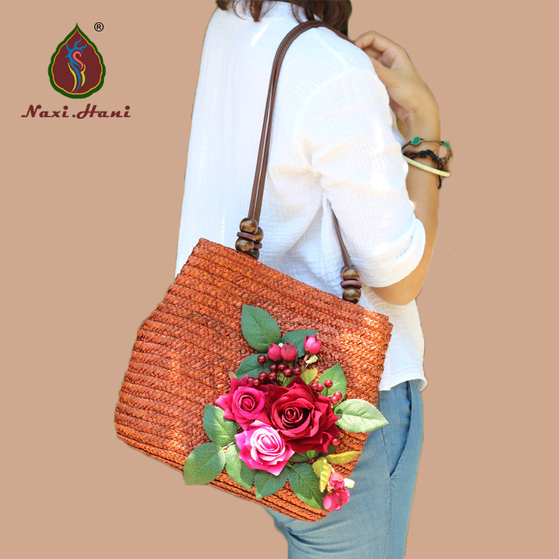 HOT SALES Handmade floral woven straw bags Beach rattan grass women shoulder bag brand original fashion handbag