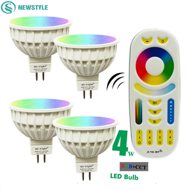 4W Mi Light LED Bulb Lamp Light Dimmable MR16 AC / DC12V RGB CCT Spotlight Indoor Decoration + 2.4G RF LED Remote Control dc12v 2 4g wireless milight dimmable led bulb 4w mr16 rgb cct led spotlight smart led lamp home decoration