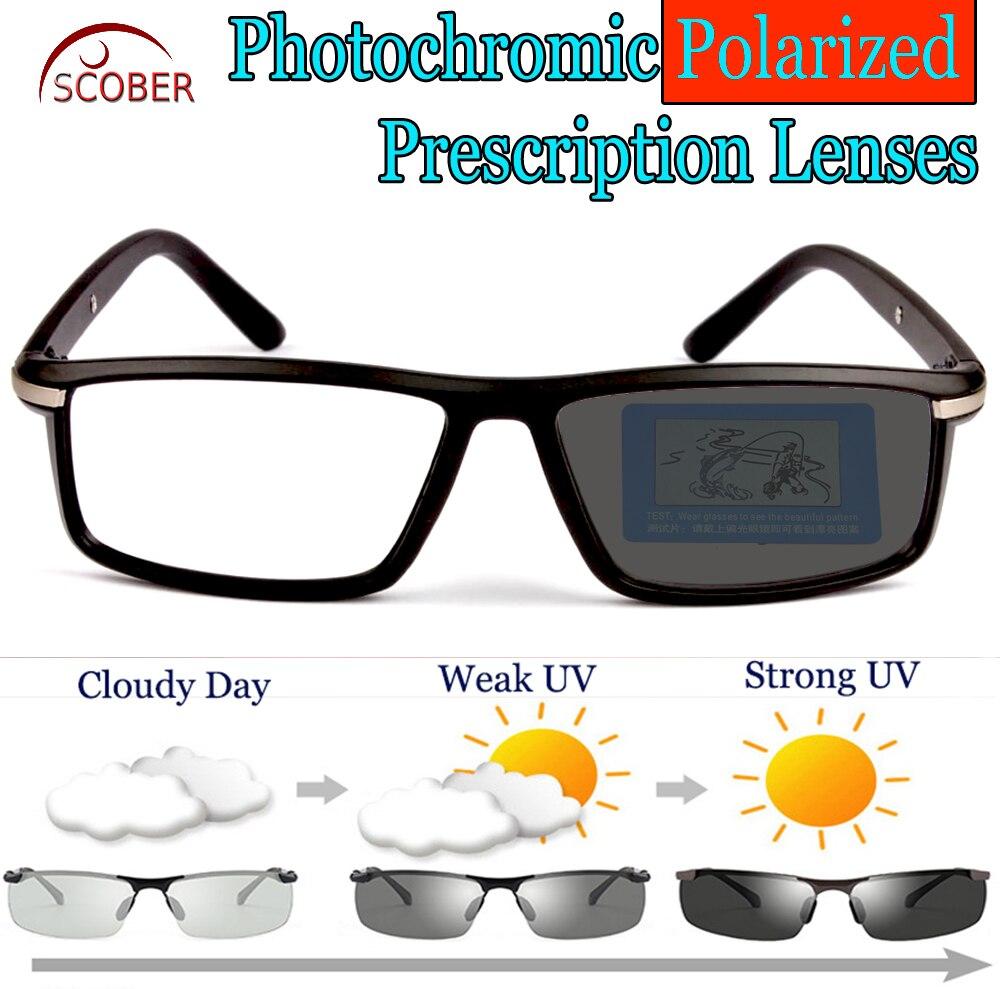 Photochromic GRAY Polarized Prescription sunglasses Custom Made Myopia Minus Prescription Lens 1 1.5 2 2.5 3 3.5 4 TO 6