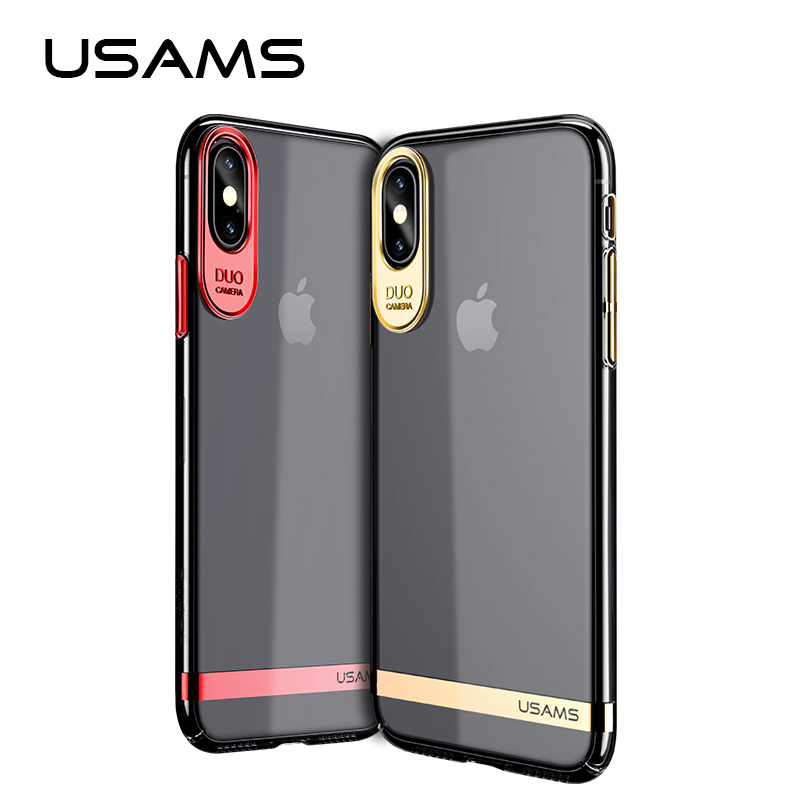 USAMS Q-plating Series for iPhone X Case PC Electroplating Back Cover for iphone X cases Full Protective case shell for apple X