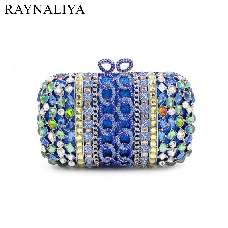Blue Minaudiere Women Evening Bags Ladies Wedding Party Clutch Bag Crystal Diamonds Purses Day Clutches Smyzh-e0071 купить