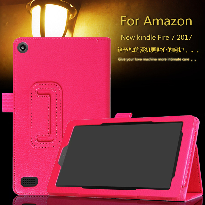 Ultra Thin Litchi Stand PU Leather Protector Sleeve Case Skin Cover For Amazon Kindle New Fire 7 2017 ultra thin smart flip pu leather cover for lenovo tab 2 a10 30 70f x30f x30m 10 1 tablet case screen protector stylus pen