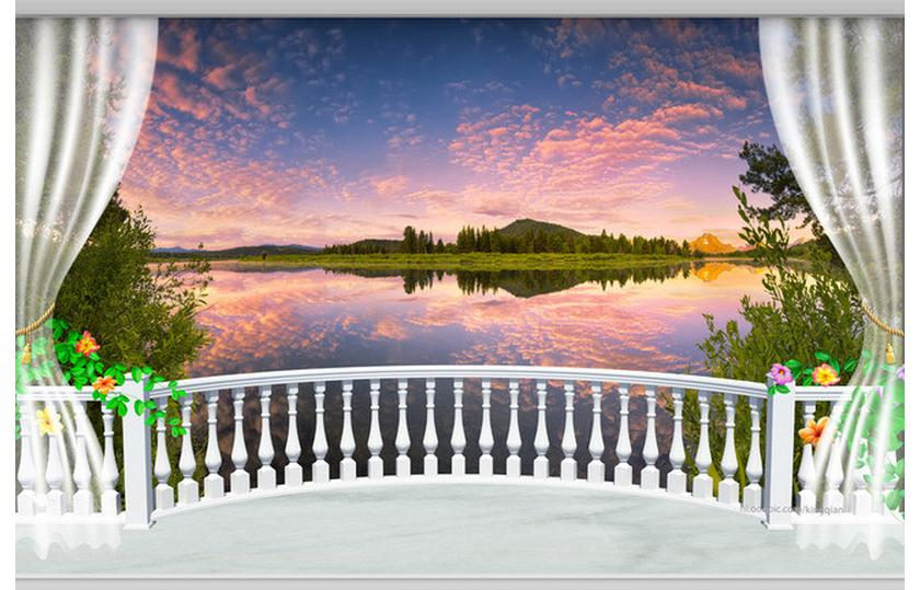 Customized D Wallpaper D Tv Wallpaper Murals  D Tv Setting Wall Scenic Lake The Balcony Wallpaper