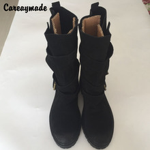New 2014 Pure Handmade Ma Ding boots high quality  Warm boots sanding belt buckle flat lamb hairs long boots high boots