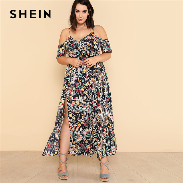 SHEIN Open Shoulder Tropical Wrap Dress 2018 Summer Spaghetti Strap V neck  Ruffle Dress Women Plus Size Beach Belted Dress